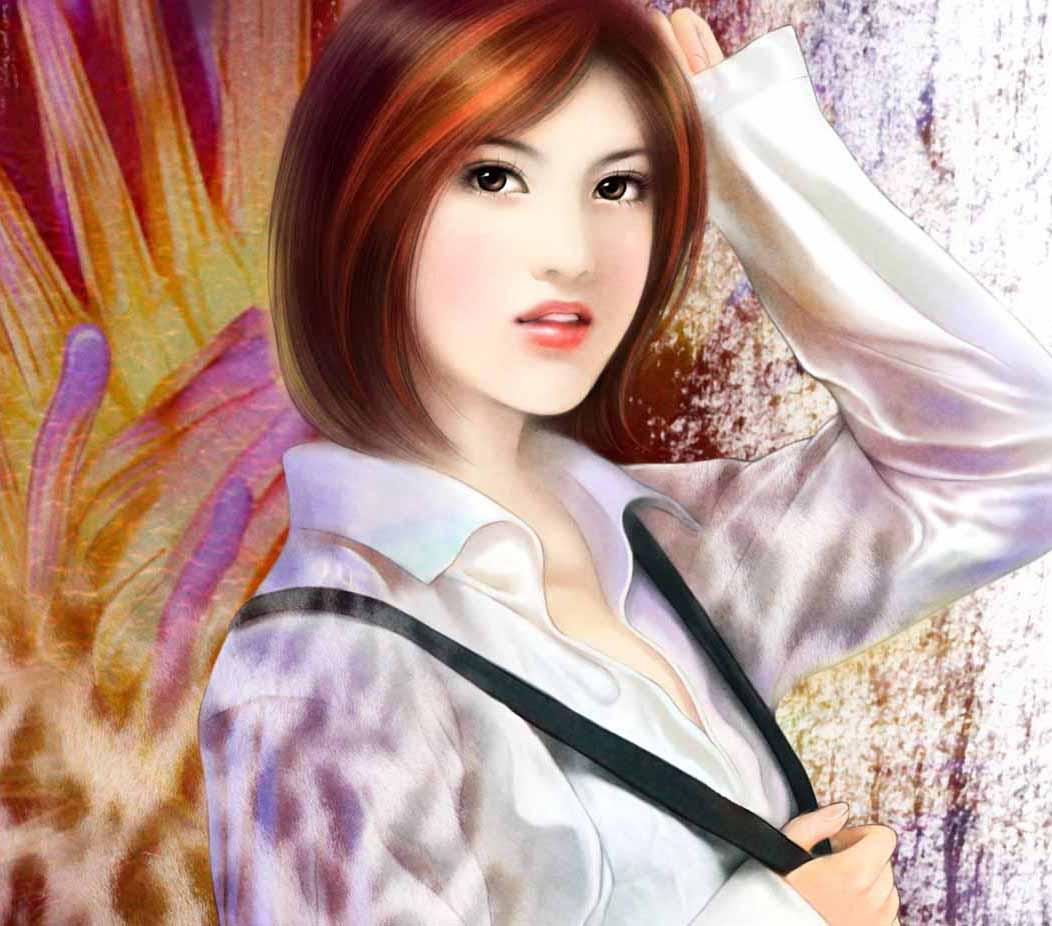 美女侧面现代手绘图