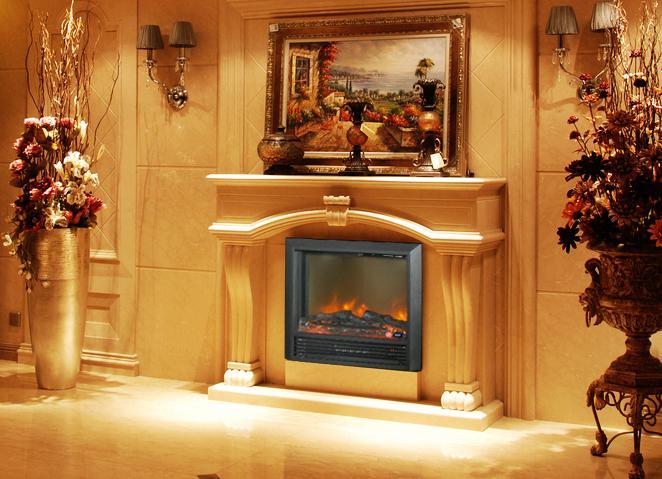曲阳石材欧式壁炉架伴侣-欧壁火伏羲电壁芯图片