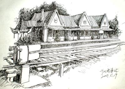 家鄉的老房子素描畫