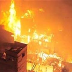 组图:福州台江发生大火10余幢民宅被烧