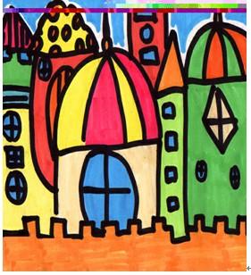 城堡卡通绘画线描