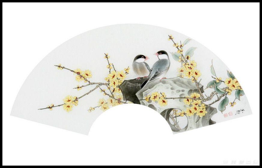 鱼工笔画花鸟-国画工笔扇面白底 鱼