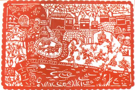 安塞剪纸是流行于陕西省安塞县的一种民间艺术。大凡喜庆的日子,安塞妇女都要铰剪纸、贴窗花。腊月天,妇女们围在一起,早早就为春节剪纸,临近年关,家家户户新糊的洁白窗户纸上贴满了红红绿绿的剪纸。这样,一个村子就是一个剪纸艺术展览会。安塞剪纸不仅造型美观,剪工精致,而且具有深邃的历史文化内涵,包含了美学、历史学、哲学、民俗、考古学、文化人类学等多方面的内容,被誉为地上文物和文化活化石。安塞剪纸形式多样,风格淳厚凝炼,线条粗犷明快,寓意单纯质朴,充满对平安吉祥的祈望之情。 安塞境内四条川道,有着各自不同的风