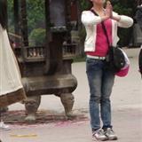 柏林禅寺遇到的气质美女