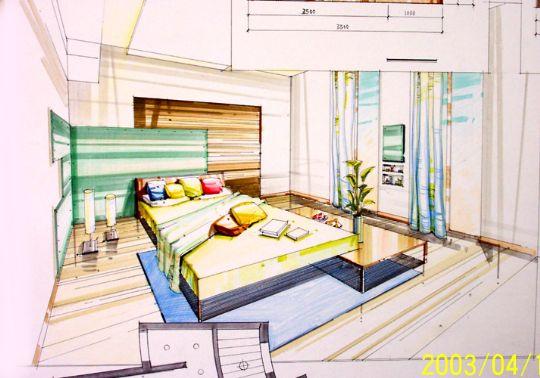 中式卧室手绘图马克笔