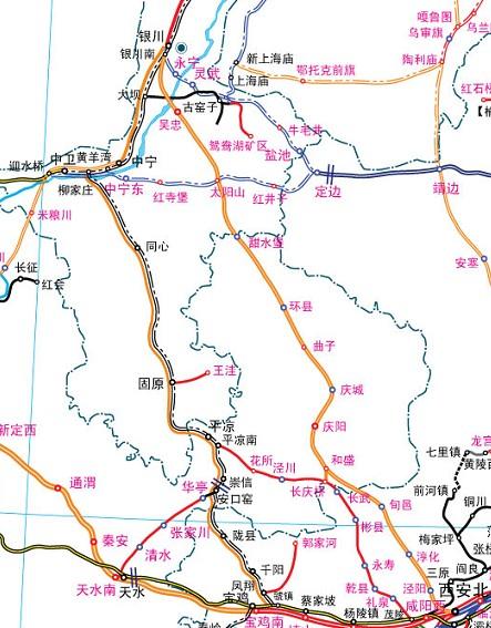 庆阳银西铁路线路图
