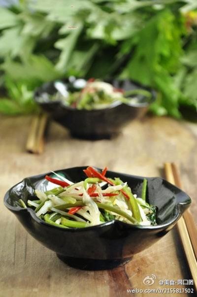 DIY美食:红薯藤炒银鱼(图)