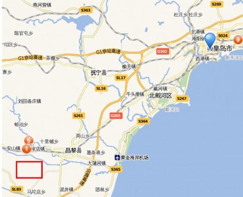 距秦皇岛市区47公里,北戴河旅游区30公里,北戴河新区11公里.