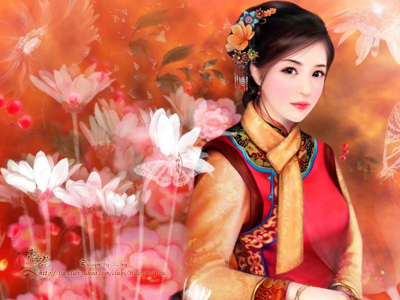 手绘古典美女 清朝