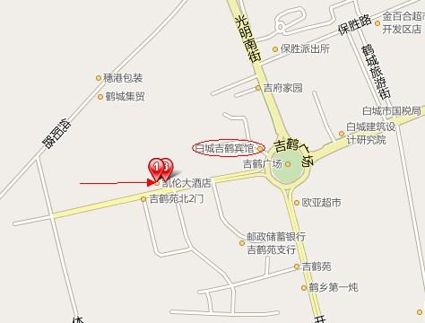 凯伦大酒店的地图,和吉鹤宾馆很近. 登录/注册后可查看大图