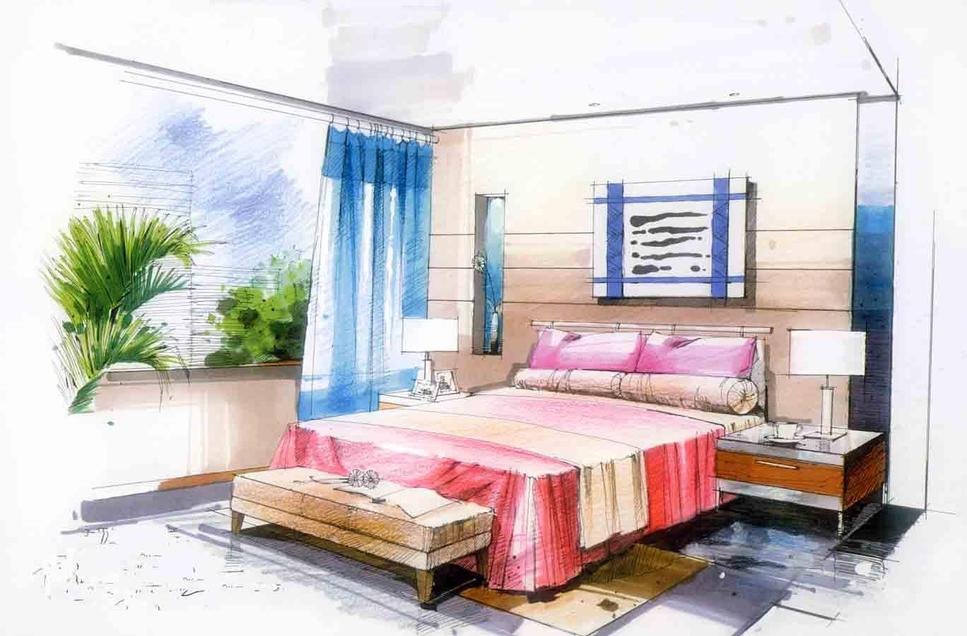 两点透视欧式卧室图