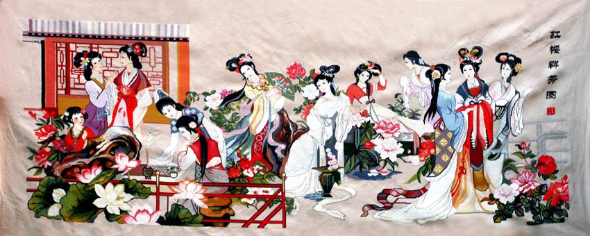 刘卿工作室出售成品十字绣《红楼群芳图》