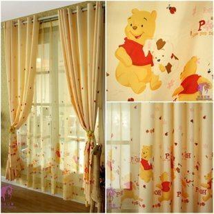特价*布*小熊维尼欧式卡通卧室儿童房迪斯尼窗帘成品