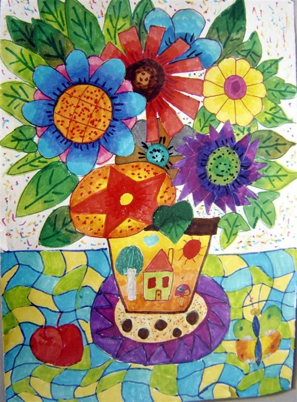 创意彩色装饰画手绘