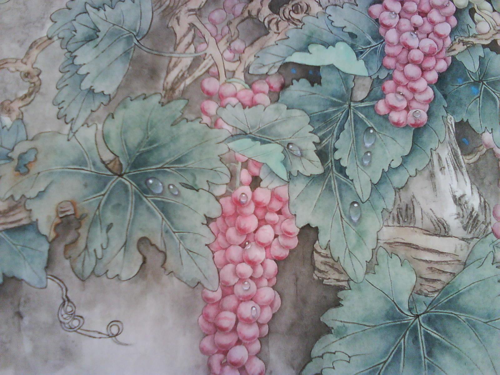 工笔画葡萄