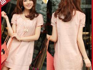 高档女装 2011夏装新款韩版 粉红色淑女纯亚麻泡泡袖短袖连