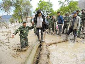 甘肃岷县昨日发生雹洪灾害