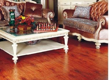 红色地板白色欧式家具