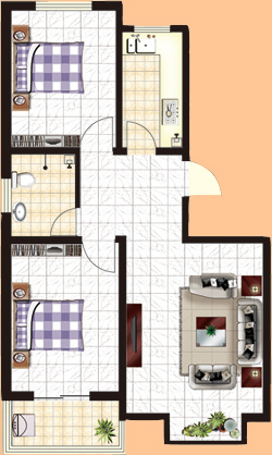 a户  [幸福空间]  两室一厅一卫  暂测面积:86㎡