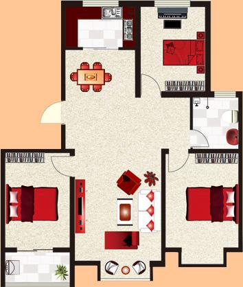 b户  [玫瑰家园]  三室两厅一卫  暂测面积:116㎡