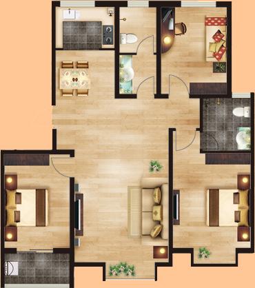 c户  [雅致府邸]  三室两厅两卫  暂测面积:126㎡