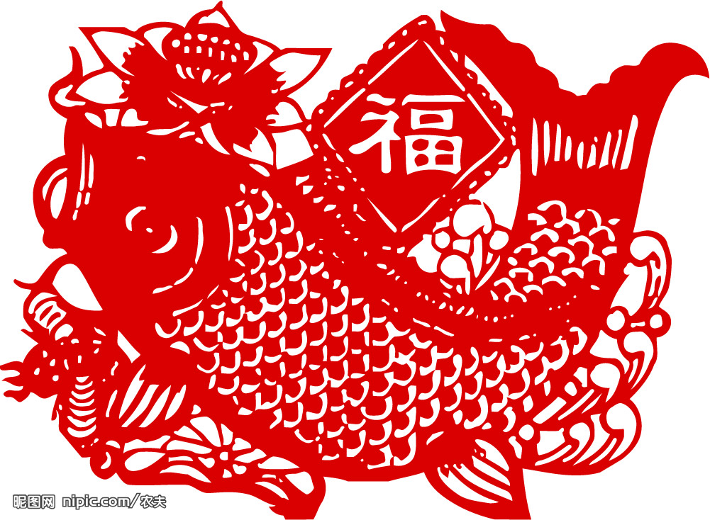 大红鲤鱼窗花剪纸步骤