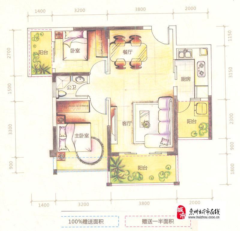 b座03户型二房二厅2室2厅1卫 84.40�O