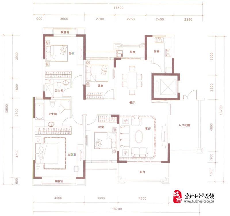 a1户型图4室2厅2卫 166.00�O