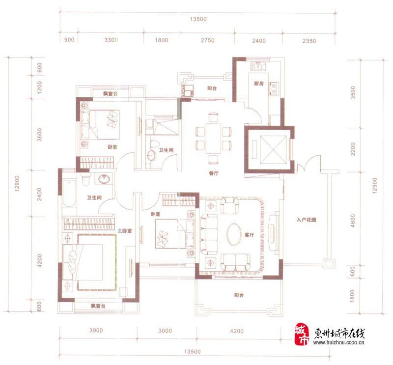 c1户型图3室2厅2卫 132.00�O