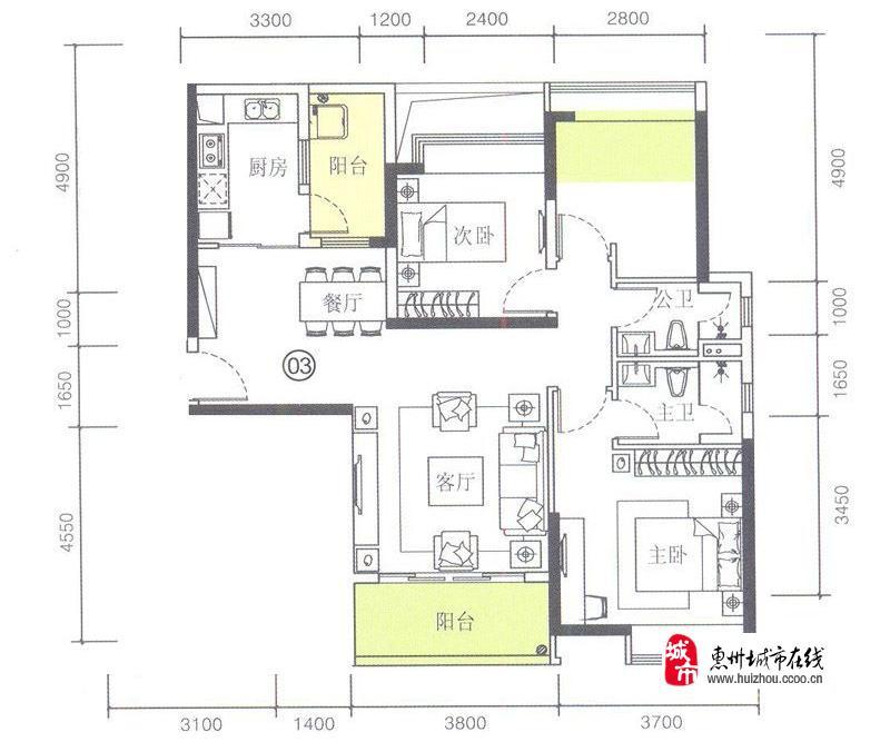 1栋03户型3室2厅2卫1厨 100.00�O