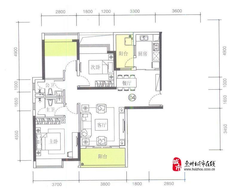 1栋04户型3室2厅2卫1厨 100.00�O