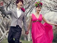 春季桃园风景婚纱照