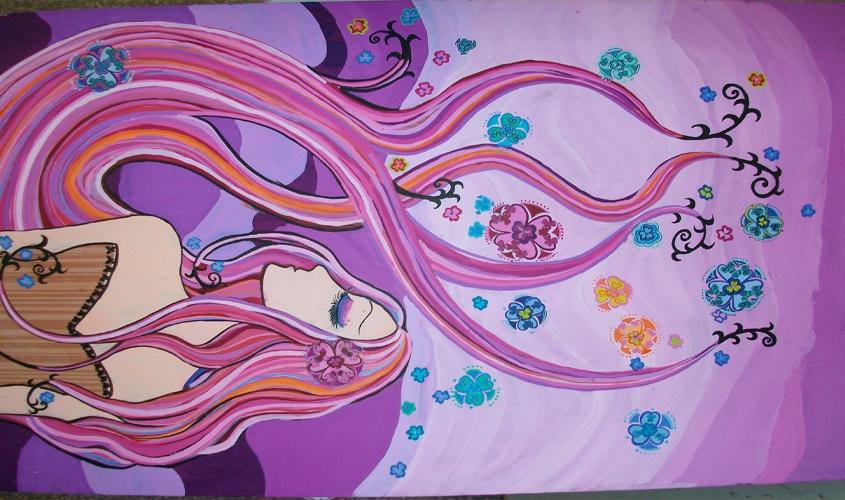 紫色手绘壁纸图片
