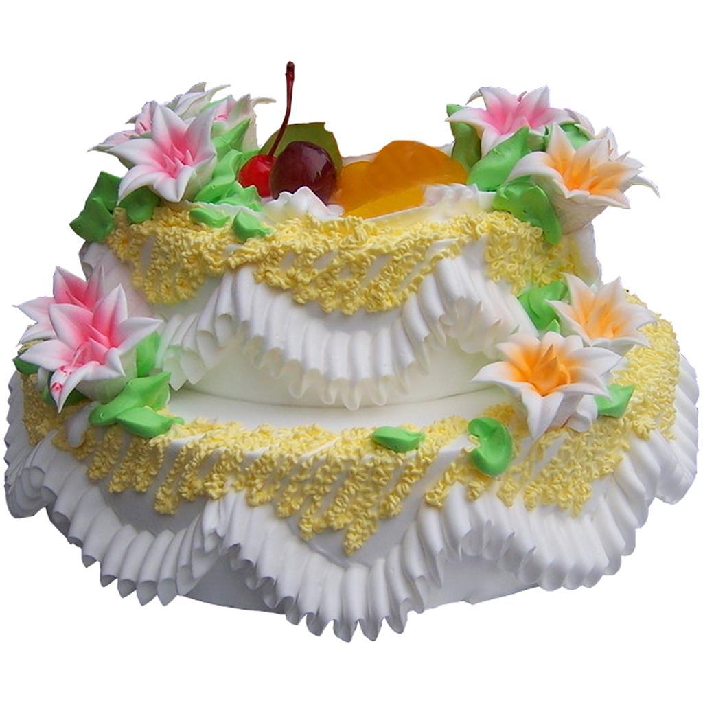 上层一只可爱的小猪,时令水果装饰    [备 注]:双层蛋糕,上下两层的