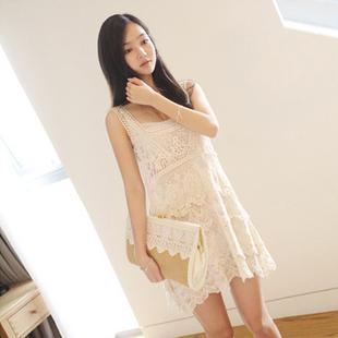 2012夏装新款韩版女装品质勾花超值两件套淑女吊带背心裙