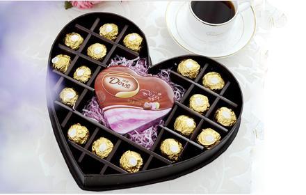 仅158(爱我吧)元送货上门!原258元情人节礼物生日节日物德芙巧克力礼盒心印+费列罗!送她最甜蜜的情人节!
